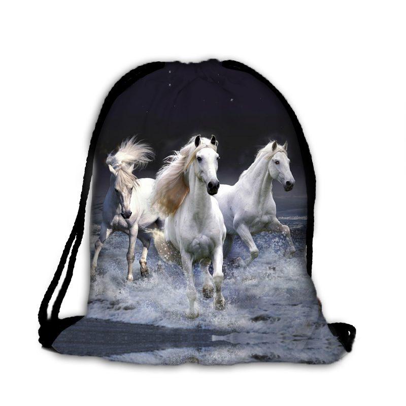 Worek białe konie w galopie