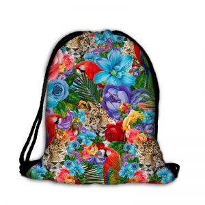 Worek plecak kolorowe kwiaty lampart